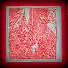 VINTAGE ORIGINAL THAILAND TEMPLE STONE RUBBING red INK #9