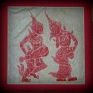 VINTAGE ORIGINAL THAILAND TEMPLE STONE RUBBING red INK #7