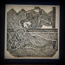 VINTAGE ORIGINAL THAILAND TEMPLE STONE RUBBING BLACK INK #6