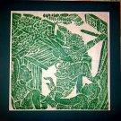 VINTAGE ORIGINAL THAILAND TEMPLE STONE RUBBING GREEN INK #2