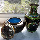 ANTIQUE 1800'S CLOISONNE'  DRAGON VASE AND VINTAGE CLOISONNE' URN W COVER