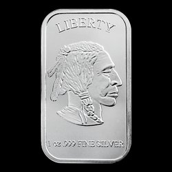 1 oz Troy ounce Silvertowne .999 Pure Solid Silver bar Indian head