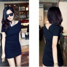 Black shoulder rib single wrinkle dress