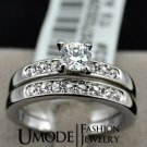 18K White Gold Plated 0.5ct Brilliant with Pave Band Cubic Zirconia Wedding Ring Set