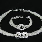 925 silver fashion necklace/bracelet set