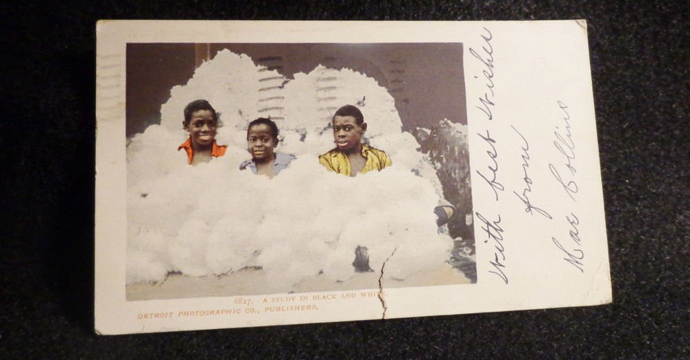Vintage Black Americana ( RPPC) A Study in Black and White Used Detroit