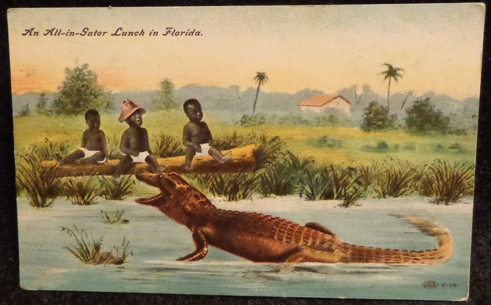 """Vintage Black Americana Postcard """"An All-in-Gator Lunch in Florida"""""""