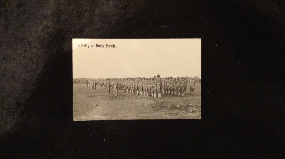 Vintage Real Photo Postcard Infantry on Dress Parade Mexican Border War