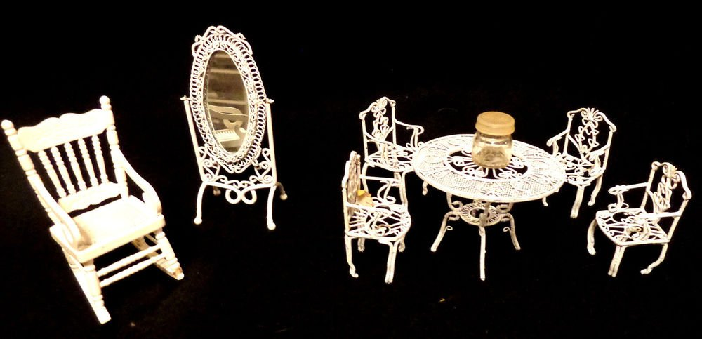 Doll House Miniature Wire Chairs & Table Lot has 4 Wire Chairs, 1 Table, More