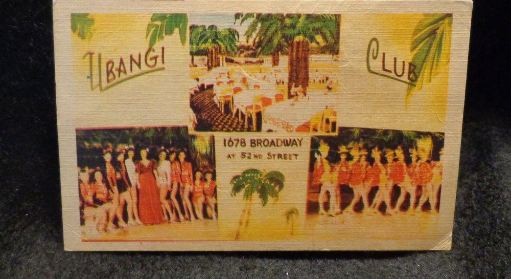 """Vintage Black Americana Postcard Unused Ubangi Club """"Harlan on Broadway"""""""