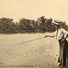 Vintage Real People Postcard (RPPC) Shows Lady Fishing Postmarked 1908 Used