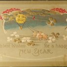 Vintage Happy New Year Embossed Has Pigs & Moon on Front Used Split Back