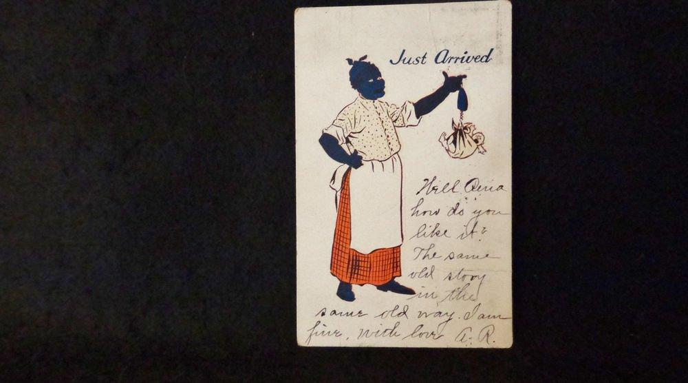 "Vintage Black Americana Postcard  ""Just Arrived""  Used Undivided Back 1906"