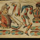 Lithograph Polichinelle & Arlequin France circa1890 Features 2 Articulated Dolls