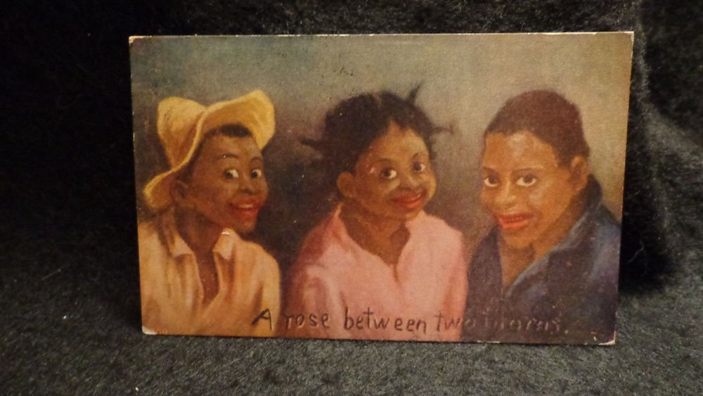 """Vintage Black Americana Postcard """"A Rose Between Two Thorns"""" Lithograph US 1901"""