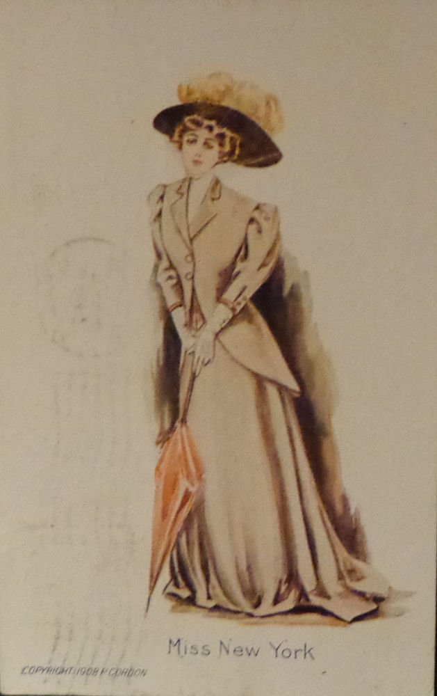 "Vintage Postcard ""Miss New York""  1908 P. Gordon  Used  Divided Back"
