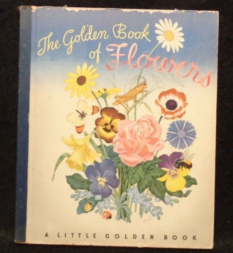 Vintage Little Golden Book Blue Spine The Golden Book of Flowers 194S