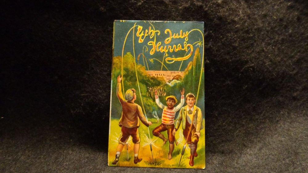 Vintage July 4th Holiday Postcard Embossed Design on Front  Used Split Back 1911