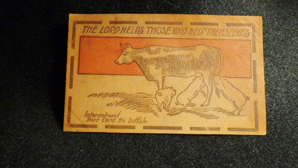 """Vintage Leather Postcard """"The Lord Helps Those Who Help Themselves"""" Unused"""