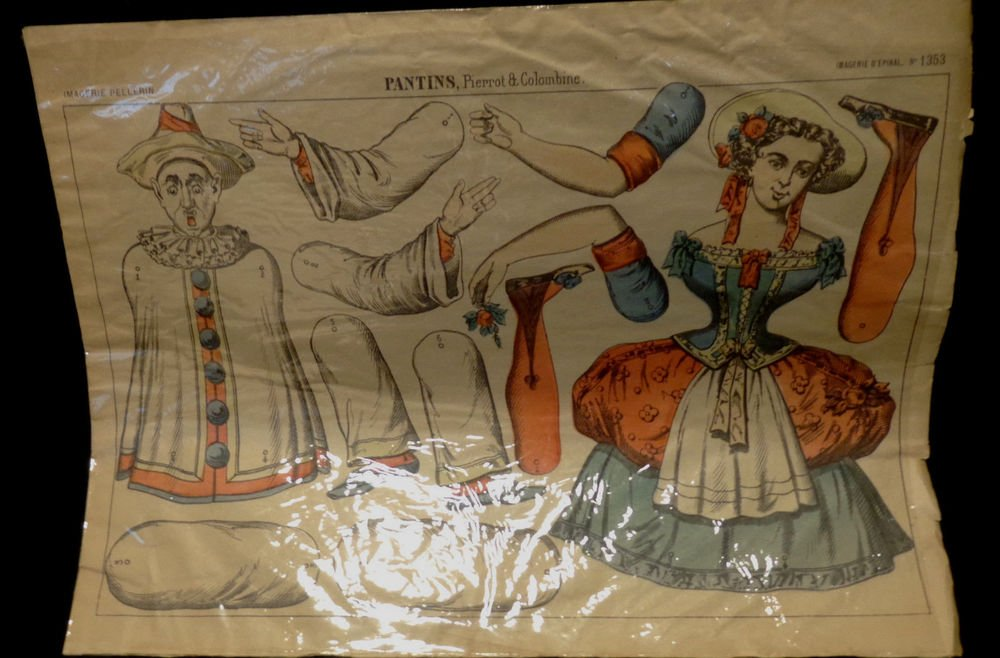 Lithograph Pierrot & Colombine France circa1890 Features 2 Articulated Dolls