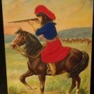 Vintage Postcard Child on Horse w/ Gun Embossed Design Used Lithograph New Jerse