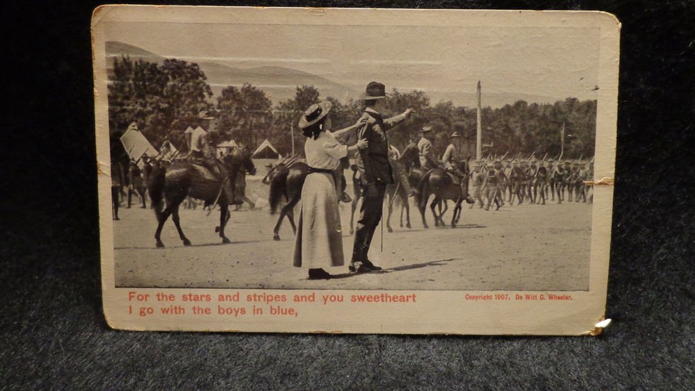 Vintage Real Photo Postcard Army Troops  1907  Postally Used  Divided Back