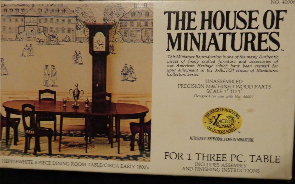 """House of Miniatures Hepplewhite 3 Piece Dining Room Table Original Box 1"""" to 1"""""""