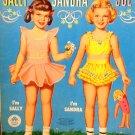 Vintage Sally Sandra Sue Paper Dolls  Merrill Pub. Company 1955  UNCUT 3 Dolls