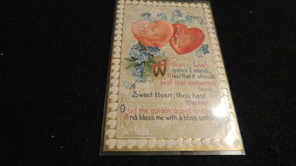 Valentine Postcard John Winsch 1910  Embossed Design   Unused  Vintage