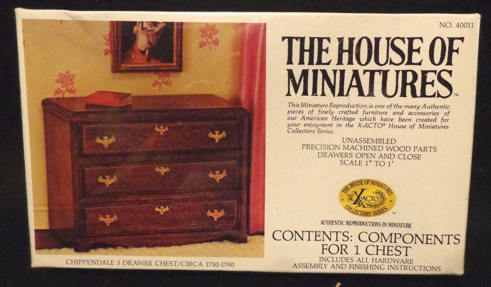 House of Miniatures Chippendale 3 Drawer Chest Mint in Box Never OpeneD Bedroom