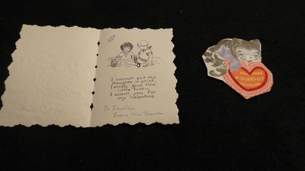 Vintage Valentines  Two in Lot  Embossed Designs Good Condition.