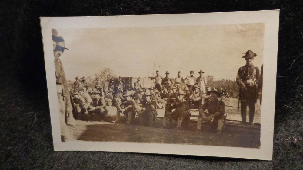 Vintage Real People Post Card (RPPC) Shows Soldiers at Base Unused  WWI Picture