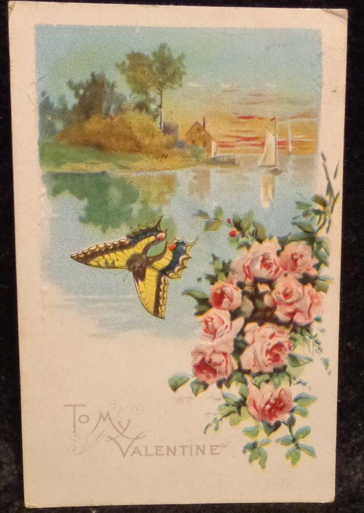 Vintage  Valentine Postcard  Embossed Divided Back  Postally Used