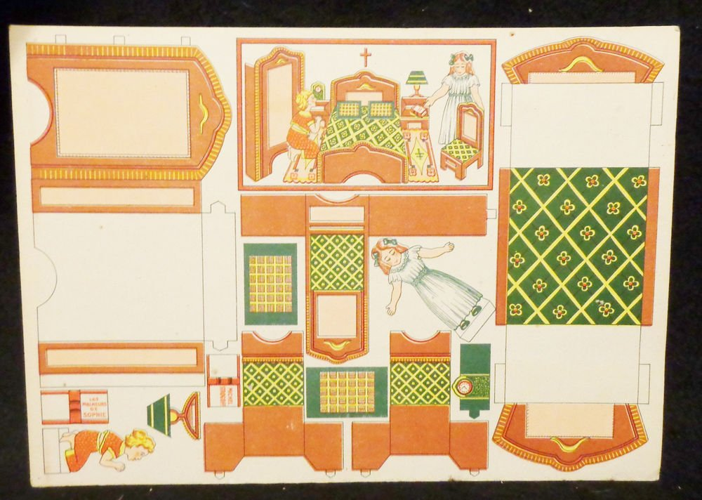 Vintage Cut-Outs w/ Paper Dolls & Room Directions  Written in French All UNCUT
