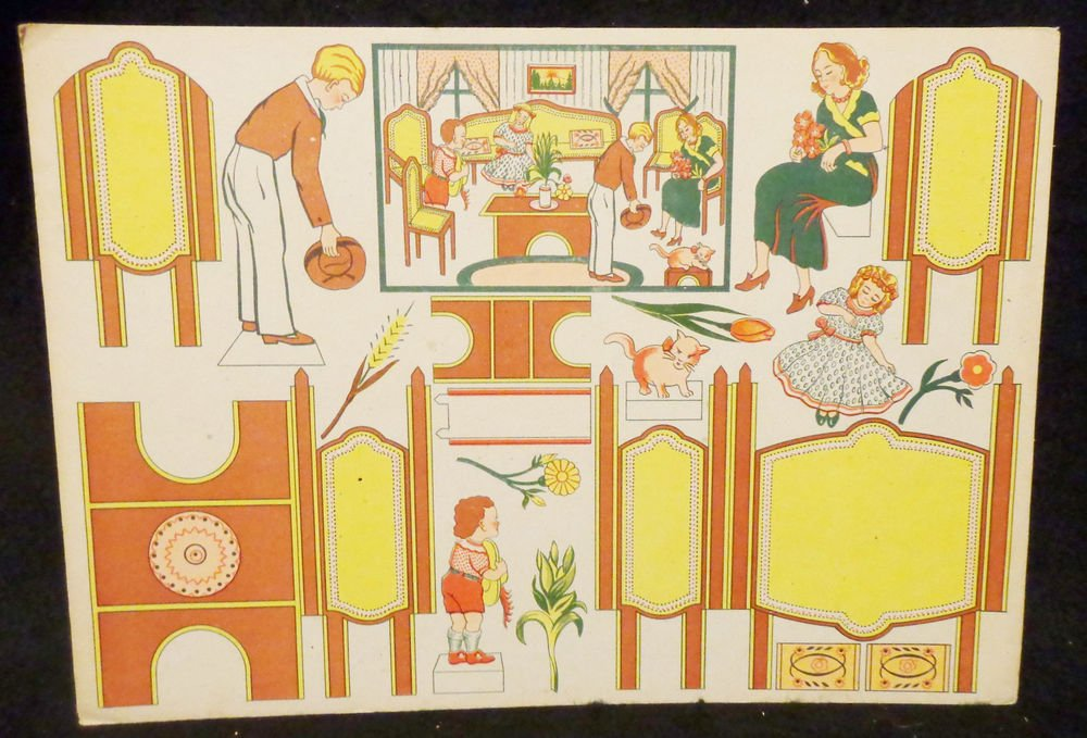 Vintage Cut-Outs w/ Paper Dolls & Flower Directions  Written in French All UNCUT
