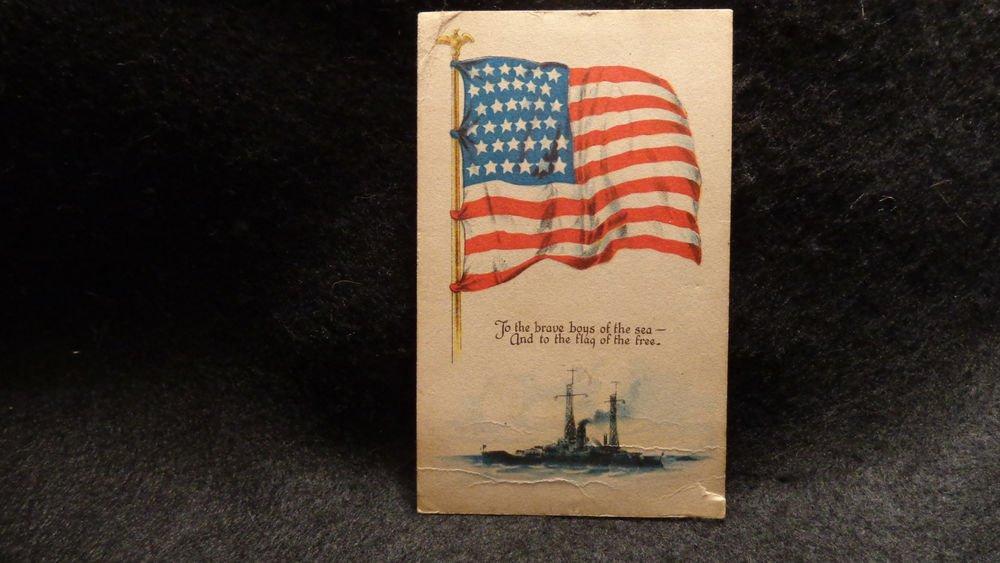 """Vintage Postcard """"Patriotic Flag Flying"""" Ship on Front  Used  Divided Back  1918"""