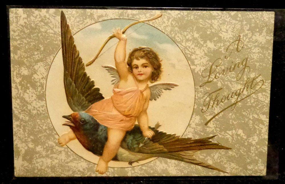Vintage  Valentine Postcard   Divided Back Postally Used  Embossed  Beautiful