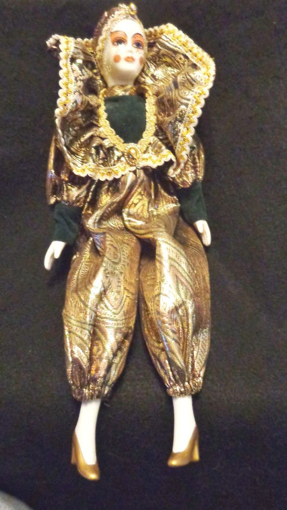 Porcelain Clown Vintage Has Beautiful Green & Gold Clothing 15 Inches Tall