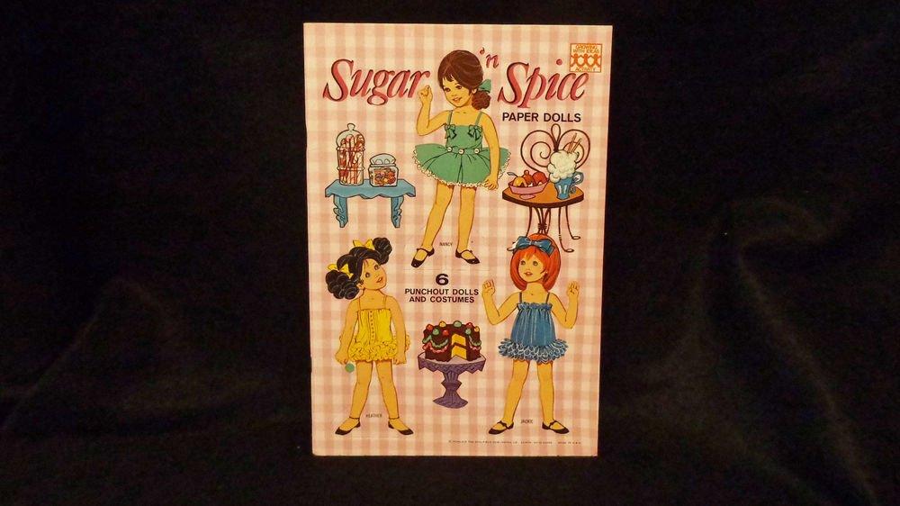 "Vintage Uncut Saalfield Paper Dolls  ""Sugar 'n Spice""  1969  6 Dolls Almost Mint"