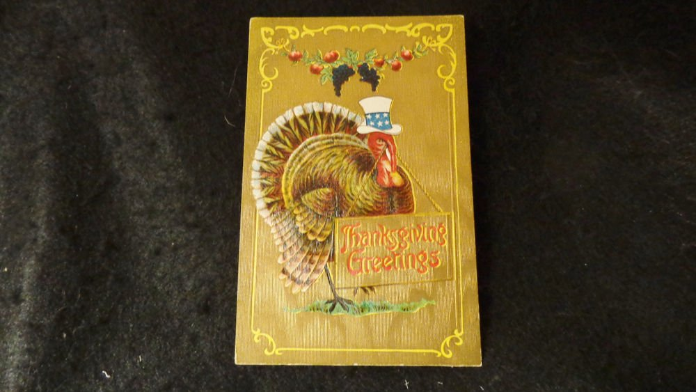 Vintage Thanksgiving Postcard  Embossed Design Divided Back Postmarked