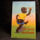 "Black Americana Postcard ""Air Raid & Black Out"" Cute Kid W/ Airplane Used 1943"