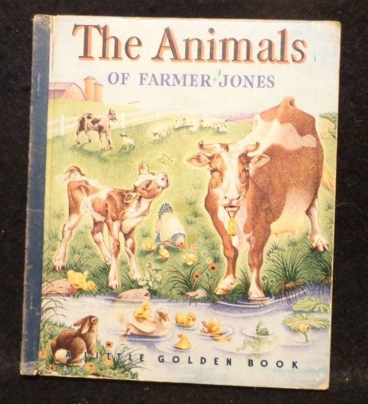 Vintage Little Golden Book Blue Spine The Animals of Farmer Jones 1943