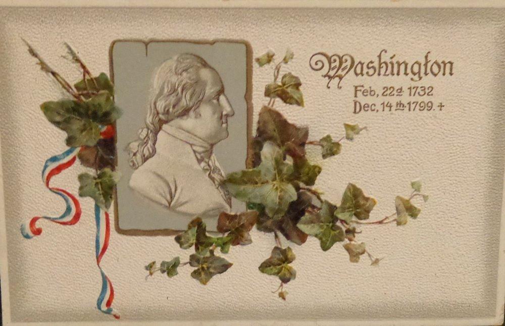 Vintage George Washington Birthday Postcard Embossed Unused Divided Back