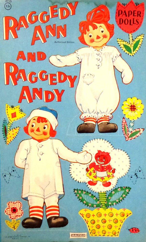Raggedy Ann and Raggedy Andy Paper Dolls  Uncut  Saalfield Pub. Co.  1961