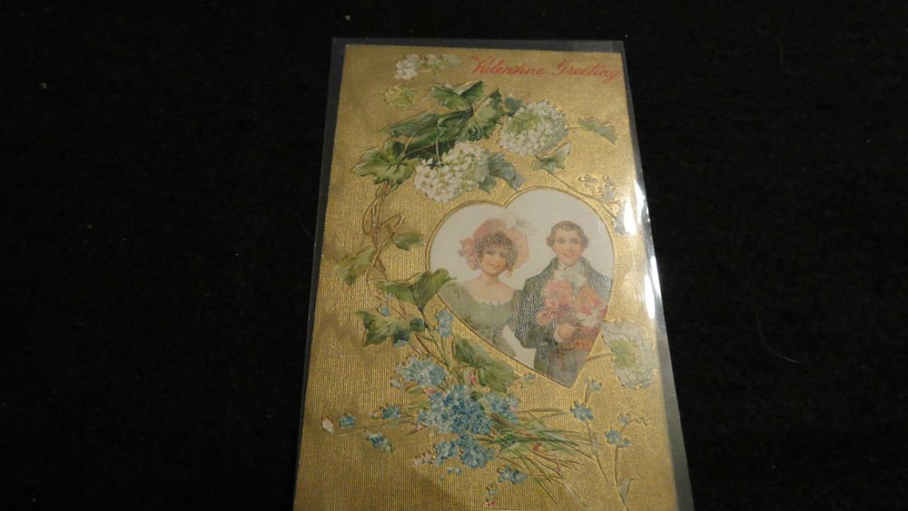 Valentine Postcard Beautiful Embossed Design  Made in Germany  Postmarked 1908