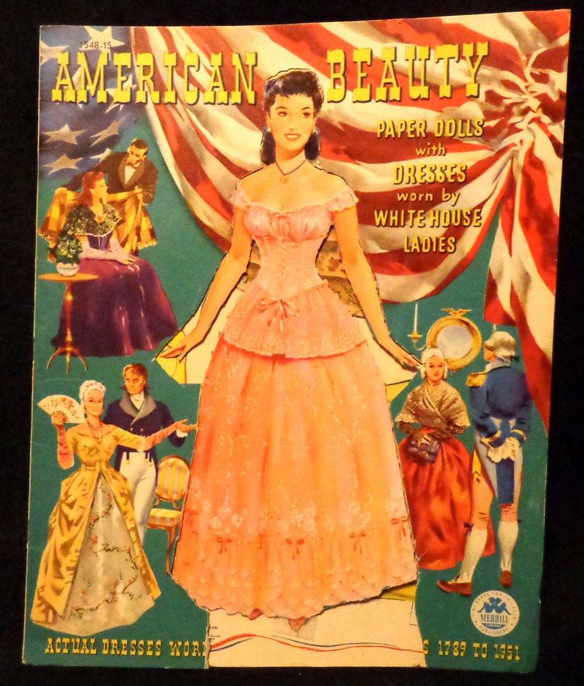 American Beauty Paper Dolls  UNCUT White House Dresses  Merrill 1951