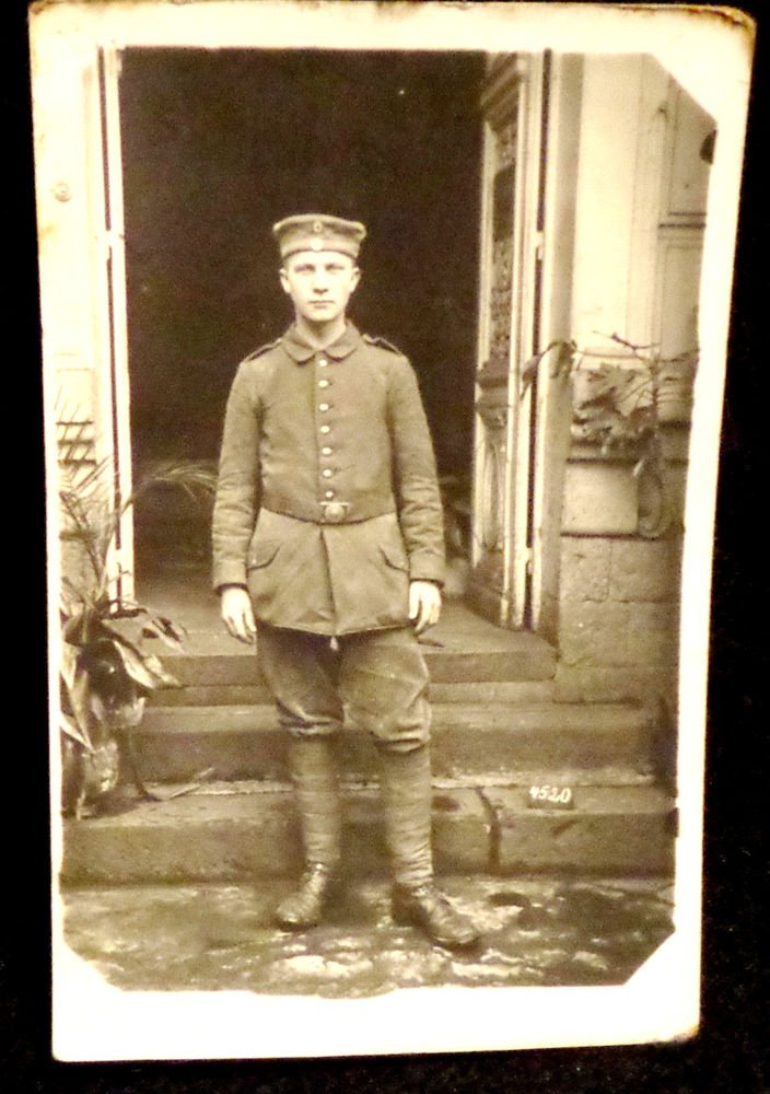 World War I Real People Postcard German Soldier in Uniform Unused Divided Back