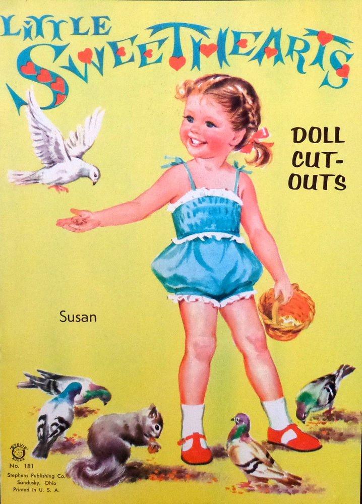 Little Sweet Hearts Doll Cut-Outs Uncut Stephens Pub. Co.  No. 181  2 Dolls