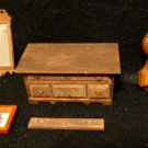 Four Pieces of Miniatures Doll House Accessories/Furniture Clock, Mirror, Chest