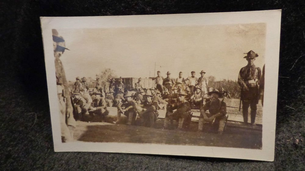 Real Photo Postcard of  Military  Mexican Border War or WWI Sepia Unposted